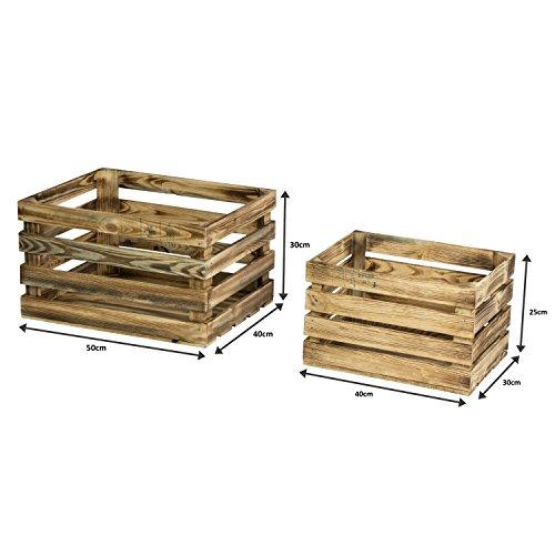 LAUBLUST 7er Set Vintage Holzkisten - Kisten in 2 Größen, 50x40x30cm / 40x30x25cm, Geflammt, Neu, Unbenutzt | Möbel-Kiste | Wein-Kiste | Obst-Kiste | Apfel-Kiste | Deko-Kiste aus Holz - 3
