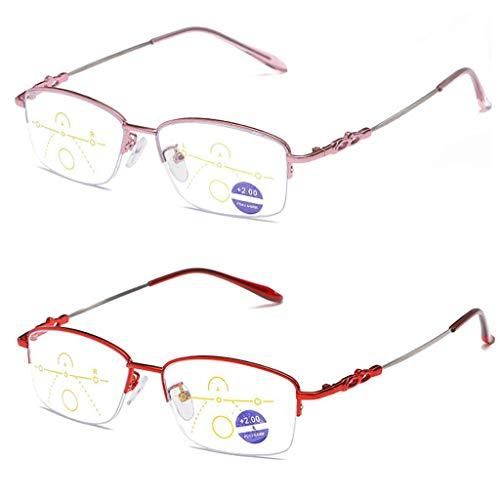 LING AI DA MAI leesbril 2 paar vrouwelijke leesbril Het veerscharnier heeft een tijdloze uitstraling, duidelijke visuele effecten, niet-verblindend filter, lichte brillen bedrukt voor dames