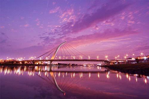 HSYE Puzzle de Madera para Adultos 1000 Piezas Taipei Dazhi Bridge Sunset Decoración del hogar Juego de Arte