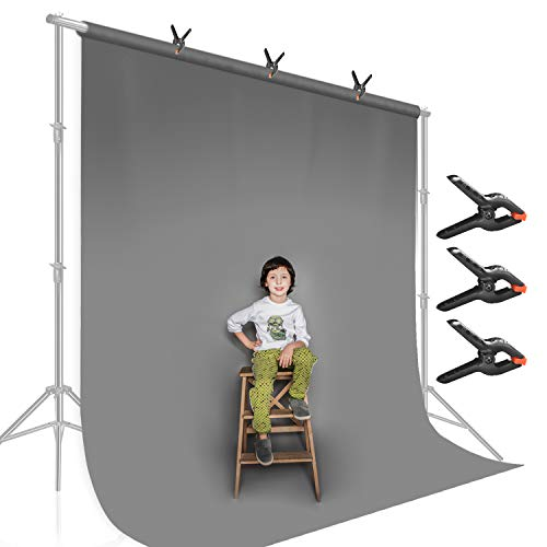 LimoStudio 9 feet X 13 feet Professional Photography Background Gray Color, Dimension, Backdrop Muslin with 3 Heavy Duty Spring Clip Clamp, Gray Canvas, Chromakey Screen, AGG2331