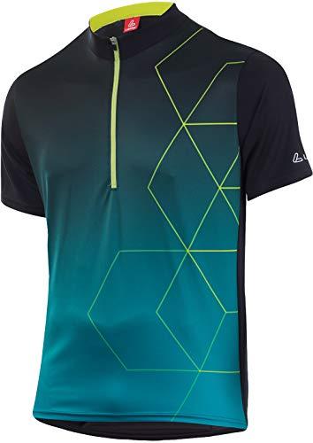 LÖFFLER Evo Half-Zip Fiets Shirt Mannen Zwart/Enamel Blue 2020 fietsshirt korte mouwen