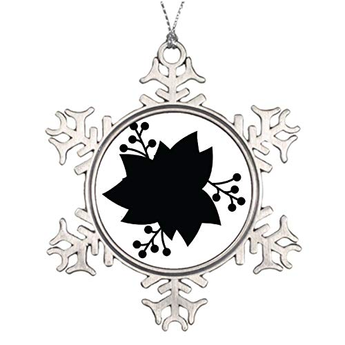 Rebbygena Christmas Ornaments Holiday Tree Ornament White Poinsettia Flower with The Black Snowflake Ornament Crafts Christmas Decoration Thanksgiving Decoration