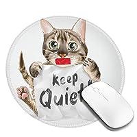 マウスパッド円形おしゃれ マウスパッド 円型 猫 静か 手描き 英文柄 キュート ゲーミングマウスパッド ゴム底 光学マウス対応 滑り止め 耐久性が良い おしゃれ かわいい 防水 オフィス最適 適度な表面摩擦 直径:20cm