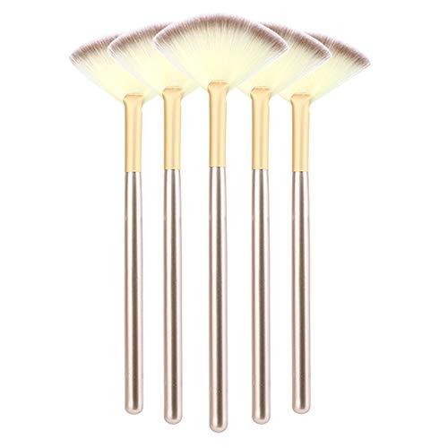 JeogYong Facial Brushes, 5 Pcs Fan Brushes for Facials, Soft Makeup Brushes Cosmetic Tools for Peel Highlighter Makeup/Setting Powder/Loose Powder