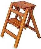 QDY Stepladders - Taburete Plegable de Madera para Adultos, niños, Cocina, escaleras pequeñas, Escalera multifunción/Silla de Escalera con 2 escalones para el hogar (Color: Color Nogal)