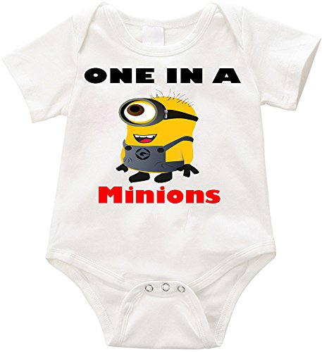 Anicelook One in a Minions-1 infant romper onesie creeper (18-24months, White)