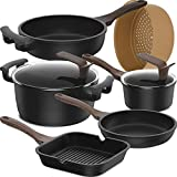 Lightning Deal 8-Piece Set Non-Stick Induction Cookware Set, Dishwasher Safe Pots and Pans Set,Silicone Handle Kitchen Ware,Germany Professional Durable Multilayer NonStick Coating,Scratch Resistance