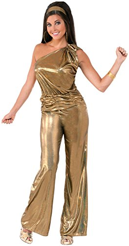 Forum Novelties Women's Solid Gold Lady Disco Costume, Gold, Standard