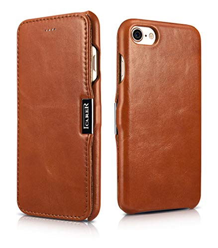 ICARER Tasche passend für Apple iPhone SE 2020, iPhone 8 und iPhone 7 (4.7 Zoll), Case mit Echt-Leder Außenseite, Schutz-Hülle seitlich aufklappbar, Ultra-Slim Cover, Etui im Vintage Look, Braun