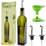 Cosyres Botella de Aceite de Vidrio, Dispensador de Aceite de Oliva/Vinagre para Cocinar (Verde, 500ML)