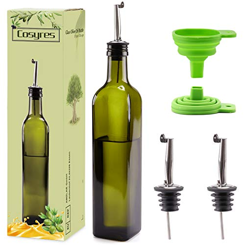 Cosyres Öl Glasflasche Essigflasche mit Ausgieße | Olivenöl Spender Flasche Glas 500ml | Flasche für Olivenöl mit Trichter
