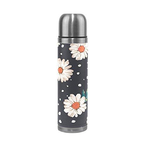 Mug de voyage, Daisy Motif floral Impression Thermos en acier inoxydable LeakProof Thermos isotherme de voiture Bureau Bouteille d'eau pour l'extérieur à l'intérieur Homme Femme Fille Garçon