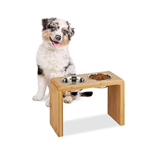 Relaxdays Doppelnapf, 2 Edelstahlnäpfe, große Hunde, für Wasser & Futter, erhöht, Bambus, HxBxT 31 x 45 x 20,5 cm, Natur, 1 Stück