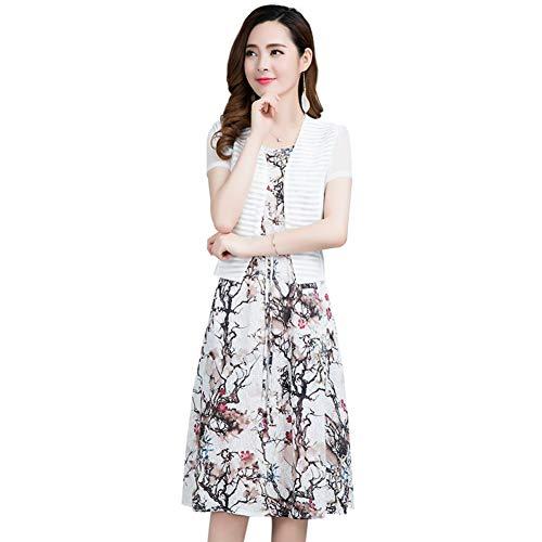 BINGQZ Cocktail Jurken Sjaal tweedelige jurk vrouwelijke zomer cover buik groot formaat over de knie bloemenpak rok