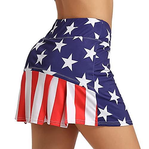 Ultrafun Women's Active Tennis Golf Skort Pleated Athletic Sports Running Skirt with Pockets and Shorts (Flag, Medium)