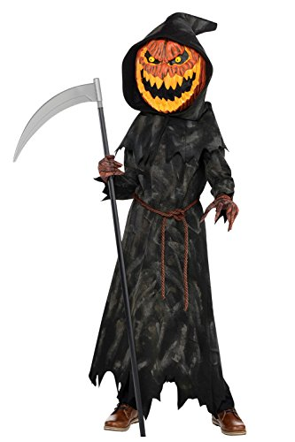 Jack-O-Lantern jungen Halloween Kürbis Reaper Kids Kinder Kostüm (8-10 Jahre)