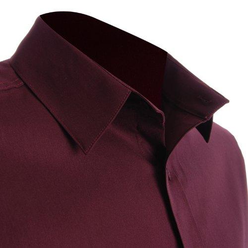 FLATSEVEN Mens Slim Fit Basic Dress Shirts Long Sleeve (SH400) Wine, US M/Asia XL