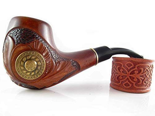 """Fashion Decorated Tobacco Pipe""""VIKING"""" Smoking Pipe Carved Pear Root Wood Designed for Pipe Smokers"""