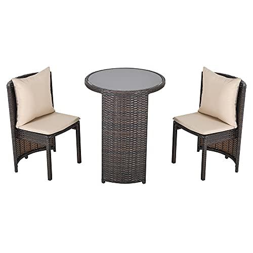 Outsunny Set Tavolino e Sedie da Giardino o da Esterno in Rattan, Set 3 Pz, Marrone e Beige