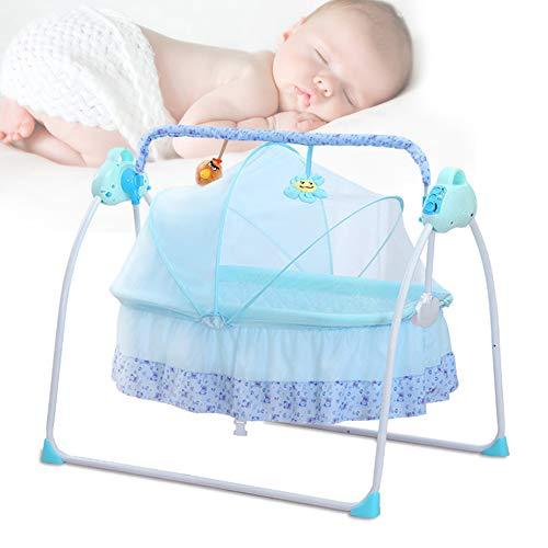 Automatik Babyschaukel Multifunktionsklappbarer Elektrische Safe Elektrische Baby-Wiege Wippe mit Matte NEU (Blau)