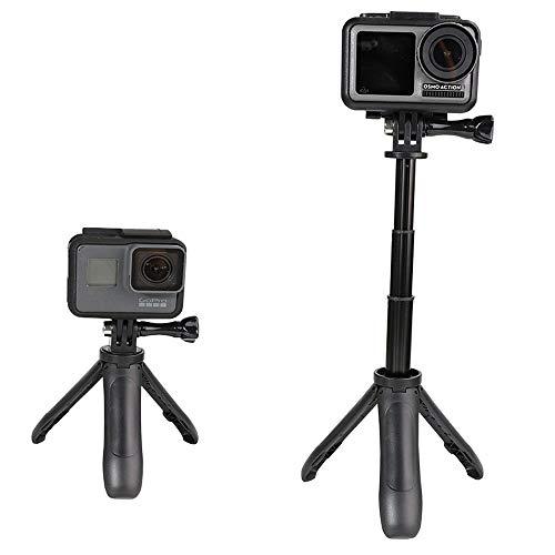 Linghuang Mini soporte de extensión para DJI OSMO Action/DJI OSMO Pocket/GoPro Hero 7 6 5 4/Insta360/Xiaomi Yi 4K+EKEN SJCAM cámara de acción (negro + negro)