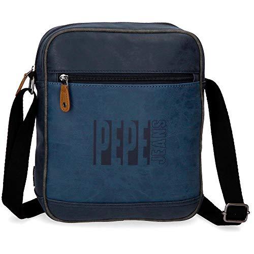 Pepe Jeans Max Bandolera Portatablet 9,7' Azul 23x27x6 cms Piel Sintética