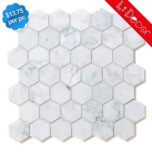 Carrara White 2in Hexagon Marble Mosaic Tiles Honed-4Pack(3.88sq.ft)