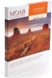 "Moab Entrada Rag Fine Art, 2-Side Bright White Matte Inkjet Paper, 15.5 mil., 190gsm, 11x17"", 25 Sheets."