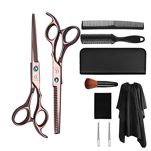 XJST Kit de Tijeras de Corte de Pelo de 10 PC, Kit de Tijeras de peluquería Profesional, Conjunto de Tijeras de peluquería de Acero Inoxidable, para barbero, salón, hogar, luz y Afilado