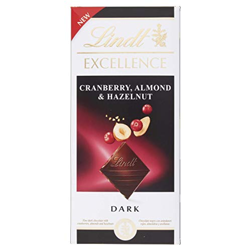 Lindt Excellence Cranberry, Almond & Hazelnut Dark Chocolate, 100 g