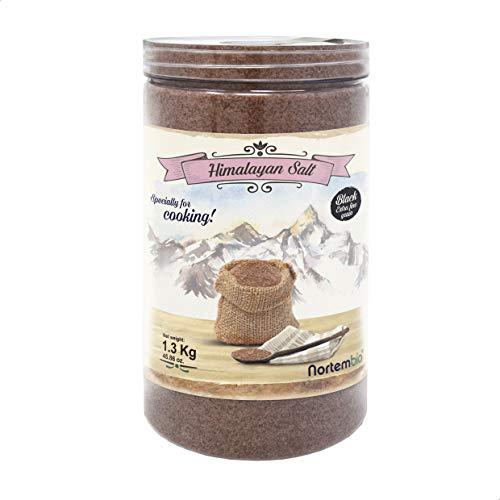 Nortembio Sal Negra del Himalaya 1,3 Kg. Extrafina (0,5-1 mm). Kala Namak. Sal Gourmet 100% Natural. Característico Sabor a Huevo. Cocina Vegana. Sin Refinar. Sin Conservantes. De Punjab Pakistán.