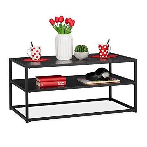 Relaxdays Couchtisch, eckig & niedrig, mit Ablage, MDF & Metall, moderner Wohnzimmertisch, HBT 42 x 90 x 50 cm, schwarz