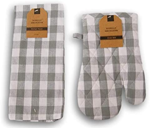 Mabelle Home Collection Kitchen Linen Set Buffalo Plaid Gray and White Patterned Kitchen Towel product image