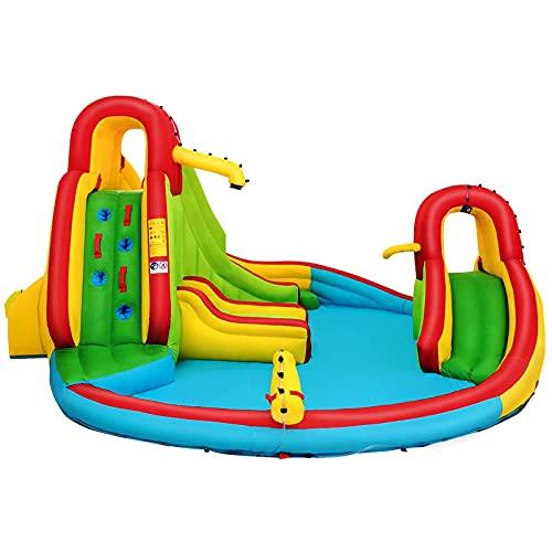 FYHpet Castillo Inflable para niños de 3 a 10 años con 2 tabogganos, Cuenca de inclinación, Asiento de cancha de Baloncesto Max160kg Blower Exterior Incluido