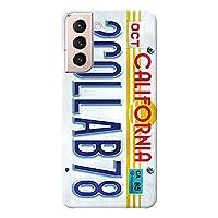 Galaxy S21 5G ケース SC-51B SCG09 ハードケース [薄型/耐熱/全面印刷] Numberplate (ホワイト) ギャラクシー スマホケース スリム CollaBorn Oilshock Designs (オイルショックデザインズ)