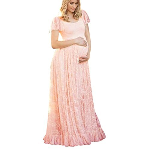 Maternity Floral Lace Dress Maxi Split V Neck Flying Sleeves Front Maternity Gown Bridesmaid Pregnant Long Dress for Photos Shoot,Plus Size ?S-4XL? -MOONHOUSE (M, Pink)