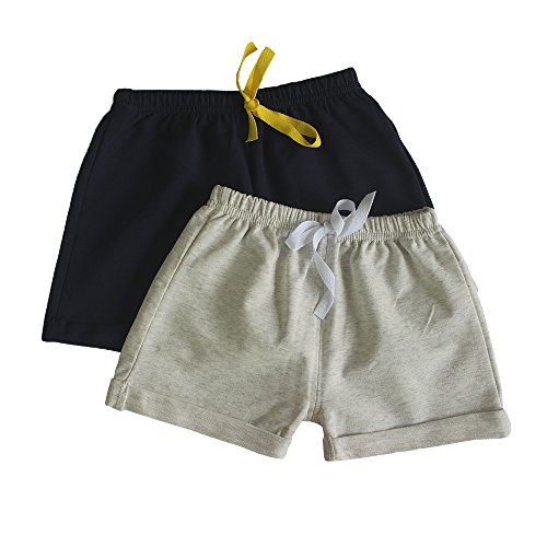 C&X Toddler Boys and Girls Cotton Shorts,2 Pack Shorts for Kids 12M - 5 Years (Navy-Grey, 2T)