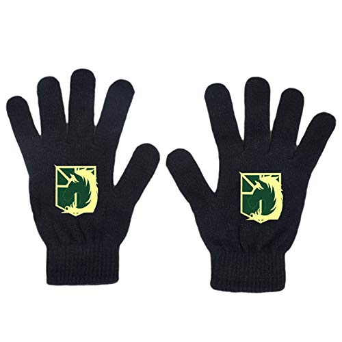 CREPUSCOLO Anime Attack on Titan Unisex Cosplay High Stretch Gloves Black Can Study to Work Sports Outdoor All Finger Gloves Touch Screen Cotton Gloves(Style 3-Not Touch Screen)