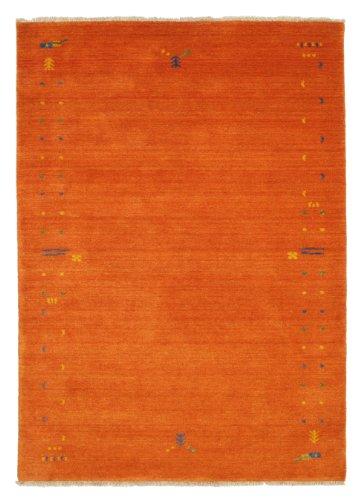 CarpetVista Teppich Gabbeh Loom Frame, Kurzflor, 140 x 200 cm, Rechteckig, Modern, Wolle, Schlafzimmer, Wohnzimmer, Orange