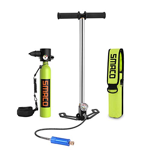 SMACO Scuba Tank, S300+ Portable Mini Dive Cylinder with 5-12 Diving Minutes Capability, Corrosion Resistant Material, with Constant Pressure Valve, Refillable Pony Bottle for Emergency Backup