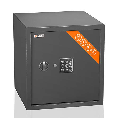 Brihard Business caja fuerte electrónica - 40x36x36cm Caja seguridad digital pantalla LED y estante extraíble - Caja fuerte seguridad oficina y hogar