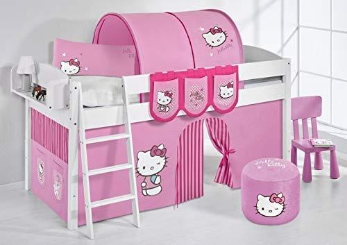 Lilokids Lit Mezzanine IDA 4105 Hello Kitty Rose - Système de lit évolutif Convertible Blanc - avec Rideau