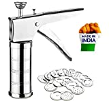 Wazdorf Stainless Steel Kitchen Press with 15 Different Types of Jalies, Murukku Maker/Bhujiya