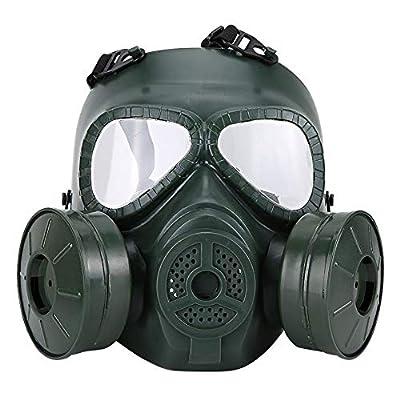 ZYC Full Face Gas Mask Military Reality CS Field Protective Helmet Commando Masque A GAZ Respirator Mascara De Gas Militar,Green