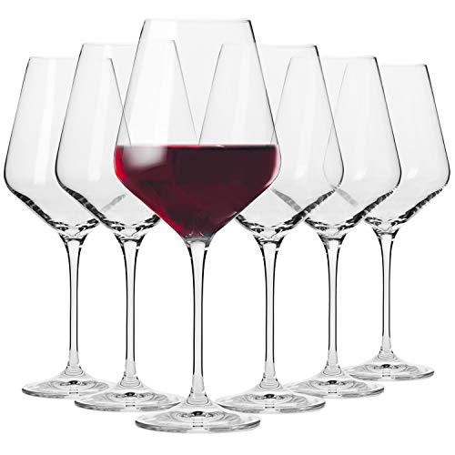Krosno Rot-Weingläser | Set von 6 | 490 ML | Avant-Garde Kollektion | Perfekt für zu Hause, Restaurants und Partys | Spülmaschinenfest und Mikrowellengeeignet
