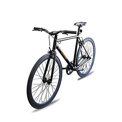 Caraci Fixed Gear Bike Fixer Bike Road Bike Alumium Alloy Urban Bike Flip Flop Hub City Bike Riser Bar 700c 54cm Single Speed (Black)
