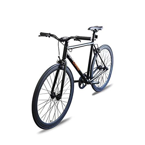 Fixer Bike Road Bike Alumium Alloy Urban Bike Flip Flop Hub City Bike Riser Bar 700c 54cm Road Bike (Black)