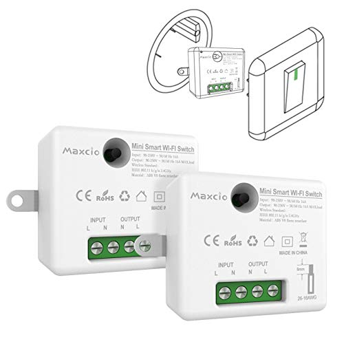 Mini Interruptor WiFi, Maxcio Interruptor Luz Inalámbrico Inteligente, Conmutador WiFi Temporizador Control de Smart Life, Compatible con Echo, Dot, Google Home(2 Pack)