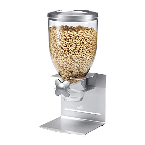 Zevro Indispensable Professional Dry Food Dispenser, Single Control, Stainless Steel, Silver