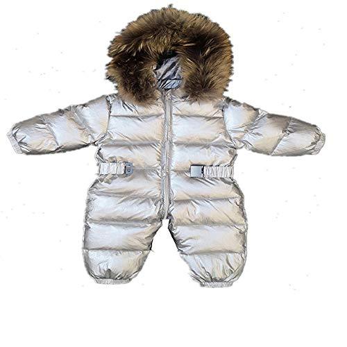 Degrees Baby Mädchen Jumpsuits Russland Winter Baby Kleidung Schneebekleidung Daunenjacke Schneeanzüge für Kinder Mäntel Jungen Mädchen Kleidung Gr. 90 cm, silber